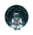 cosmic knowledge meditation in space with stars vector image vector image