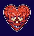cracked heart love skull vector image