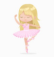 cute blond small princess girl ballerina dance vector image vector image