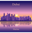 Dubai Marina silhouette on sunset background vector image