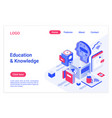 education and knowledge isometric landing page vector image vector image