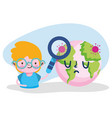 education online student boy with magnifier world vector image