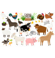 farm animals domestic farm animal collection vector image vector image