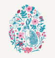 floral animal oval composition vector image