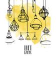 flyer with modern edison loft lamps vintage vector image vector image