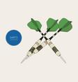 green arrow darts sketch vector image vector image