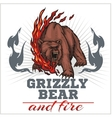 grizzly bear and fire emblem elements vector image