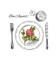 hand drawn table setting vector image vector image