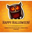 Happy halloween greeting card with brown owl vector image vector image