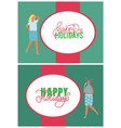 happy new year holidays greeting card with people vector image vector image