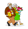 Happy seniors couple with a bouquet of flowers vector image