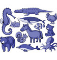 isolated set many animals in purple color vector image vector image