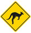 kangaroo silhouette wild animals yellow rhombus vector image