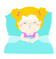 little sick girl sleep in bed vector image vector image