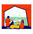 male character with pets cat and dog sit inside of vector image vector image