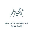 mounts with flag diagram line icon linear vector image vector image