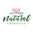 natural cosmetics logo beauty lettering vector image vector image