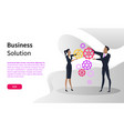 office workers and cogwheels business solution vector image vector image
