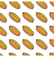 pattern with delicious hotdogs vector image vector image