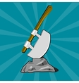 Poleaxe stuck into stone vector image vector image