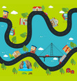 road map with buildings and landmarks vector image