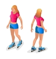 Roller Skating girl Full length portrait a vector image vector image