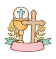 sacred chalice with cross vector image vector image