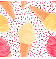 seamless pattern with banana pink vanilla ice vector image vector image