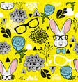 seamless pattern with hipster rabbit art vector image vector image