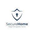shield home security logo template flat vector image