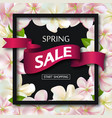 spring sale background with ribbon and flowers vector image