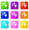 stork child icons set 9 color collection vector image vector image