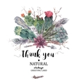 Thank You card with branches and succulent vector image