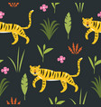 tiger among palm leaves seamless pattern vector image vector image