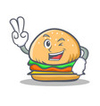 two finger burger character fast food vector image vector image