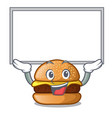 up board cheese burger isolated on a mascot vector image vector image