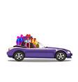 violet modern cartoon cabriolet car full of gift vector image vector image