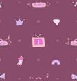 violet seamless pattern with the tape recorder vector image
