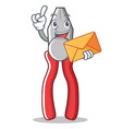 with envelope pliers character cartoon style vector image vector image