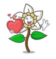 with heart jasmine flower mascot cartoon vector image