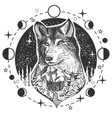 wolf head tattoo or t-shirt print design vector image vector image