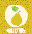 Pear hand drawn sketched fruit with leaf on vector image