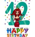 twelfth birthday cartoon design vector image
