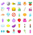 Beauty product icons set cartoon style vector image