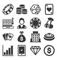 casino icons set on white background vector image