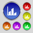 Chart icon sign Round symbol on bright colourful vector image