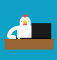 chicken laptop working chain and notebook vector image vector image