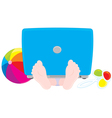 child with a laptop ball and rattle vector image vector image