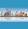 china city skyline with reflections famous vector image vector image