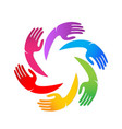 colorful unity hands together logo vector image vector image